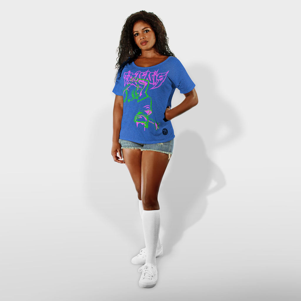 Model wearing Stick it Wear?! 'CITY COURT' Womens Tennis Open Neck Tee in royal blue.