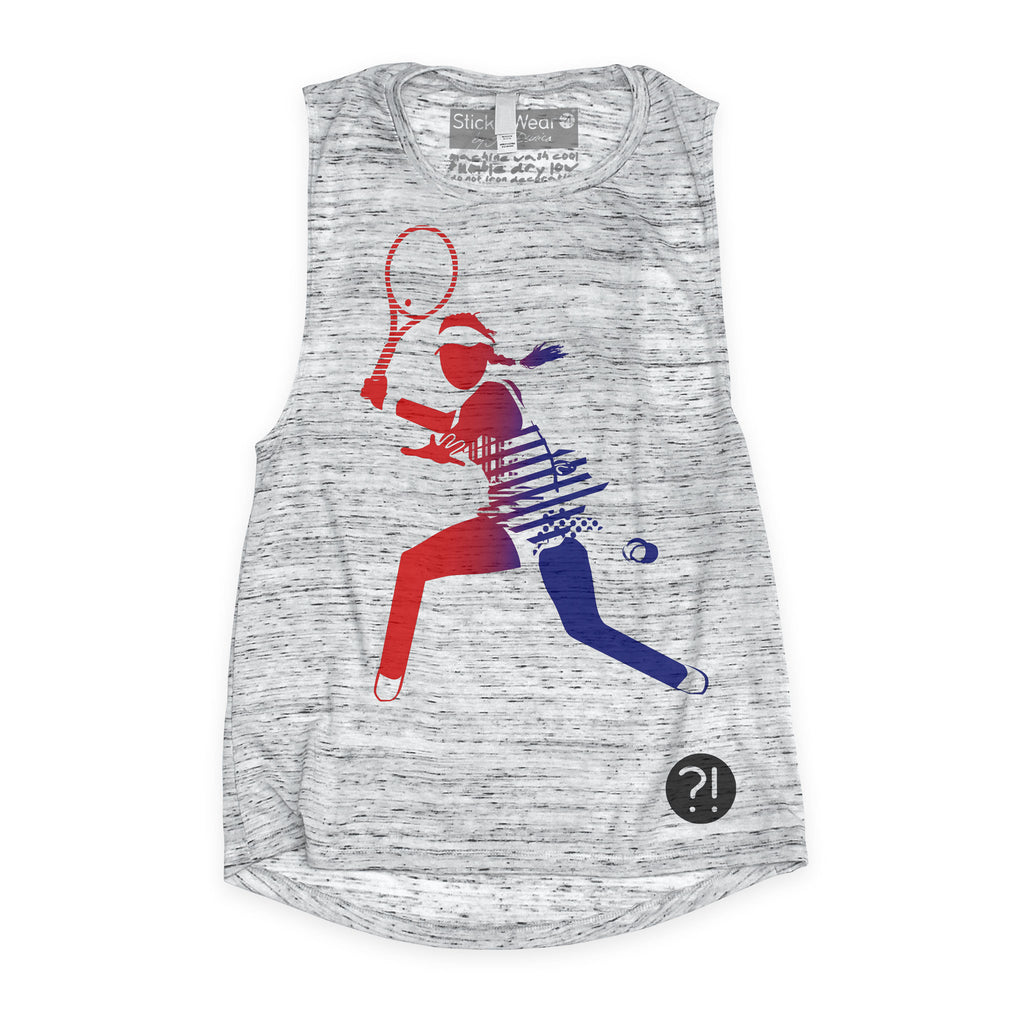Front of Stick it Wear?! 'DREAM OF GENIE' Womens Tennis Tank Top in marble.