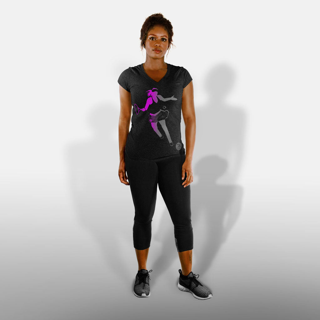 Model wearing of Stick it Wear?! 'FOREHANDAPOVA' Womens Tennis Tee in black.