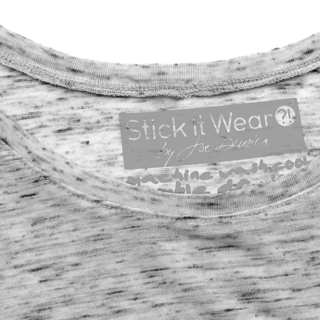 Collar of Stick it Wear?! 'COME ON!' Womens Tennis Open Neck Tee in marble gray.