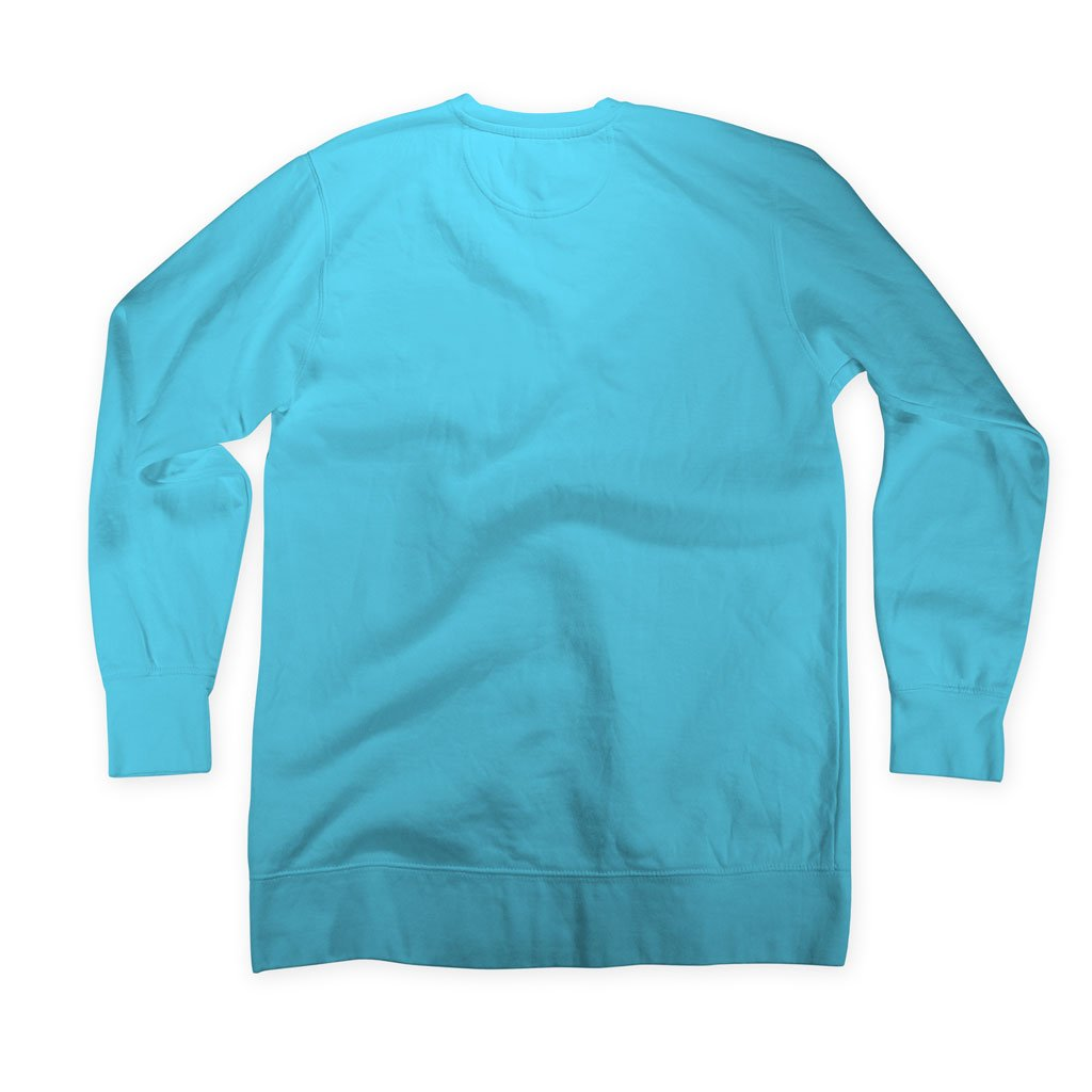 Back of Stick it Wear?! 'LOVE' Womens Tennis Front Office sweatshirt in lagoon.