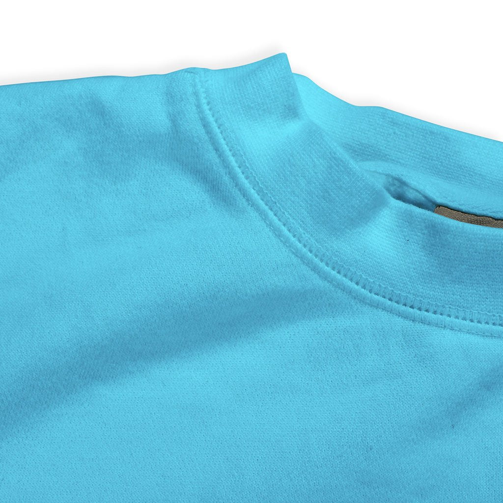 Collar of Stick it Wear?! 'LOVE' Womens Tennis Front Office sweatshirt in lagoon.