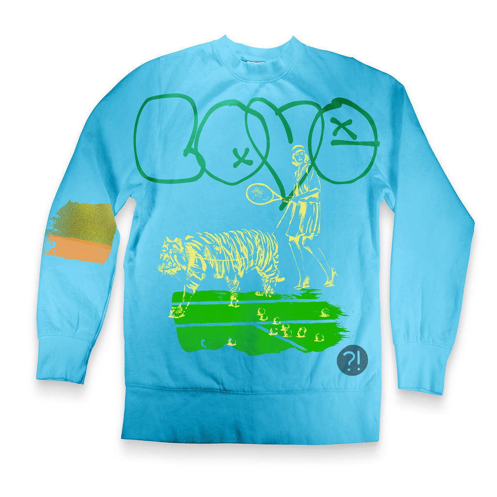 Front of Stick it Wear?! 'LOVE' Womens Tennis Front Office sweatshirt in lagoon.