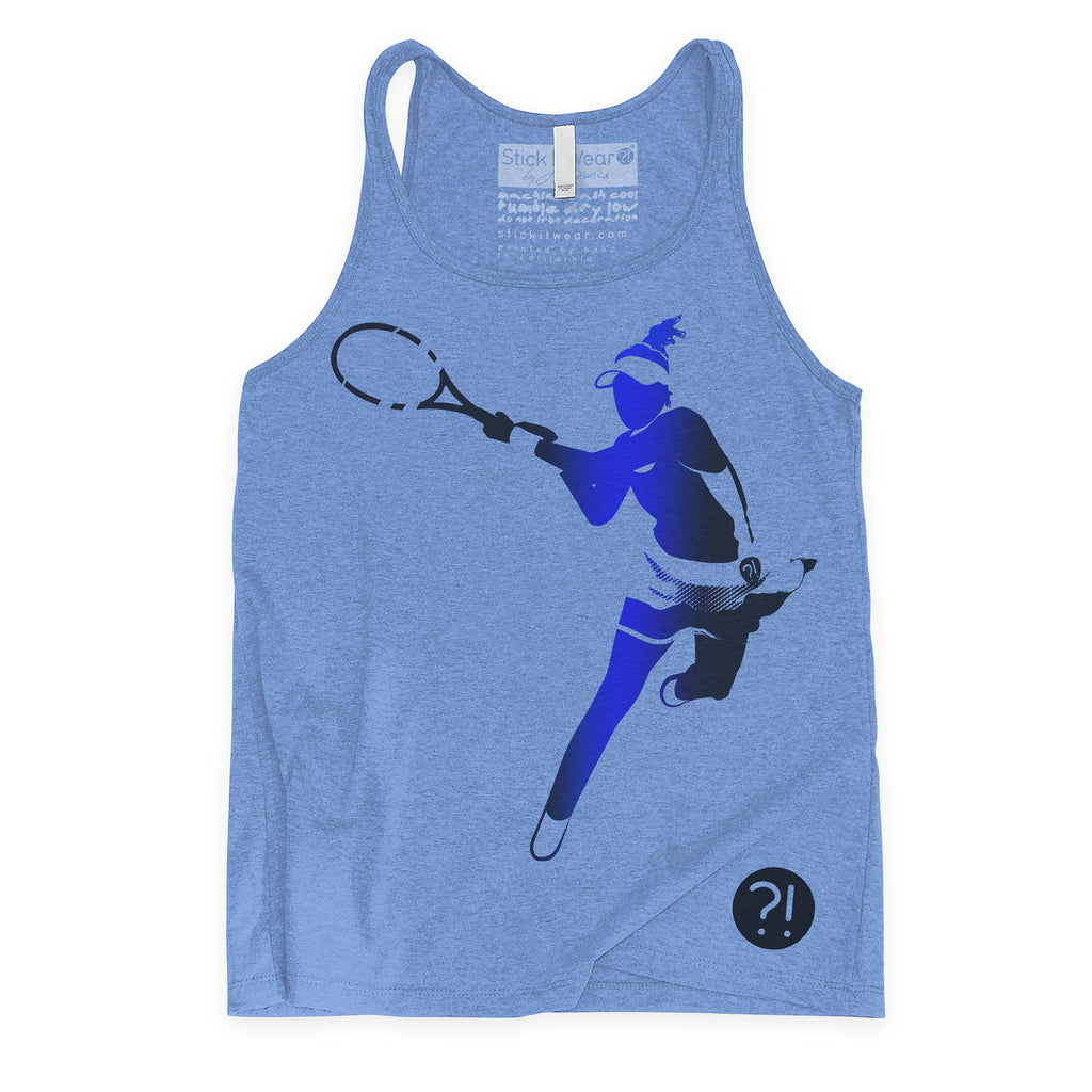 Front of Stick it Wear?! 'MUGUZILLA' Womens Tennis Tank Top in blue.
