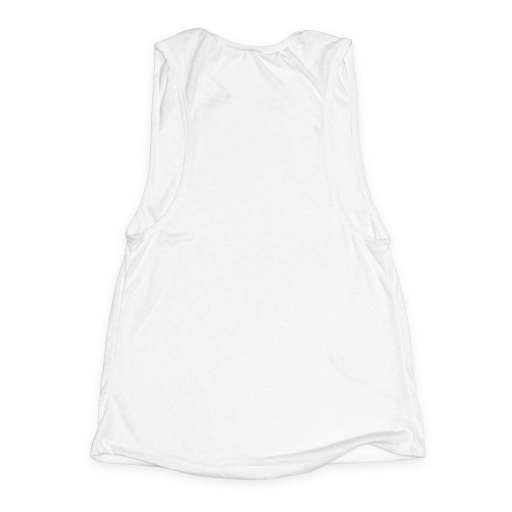 Back of Stick it Wear?! 'WORLD CHAMPIONSHIP' Womens Tennis Tank Top in white.