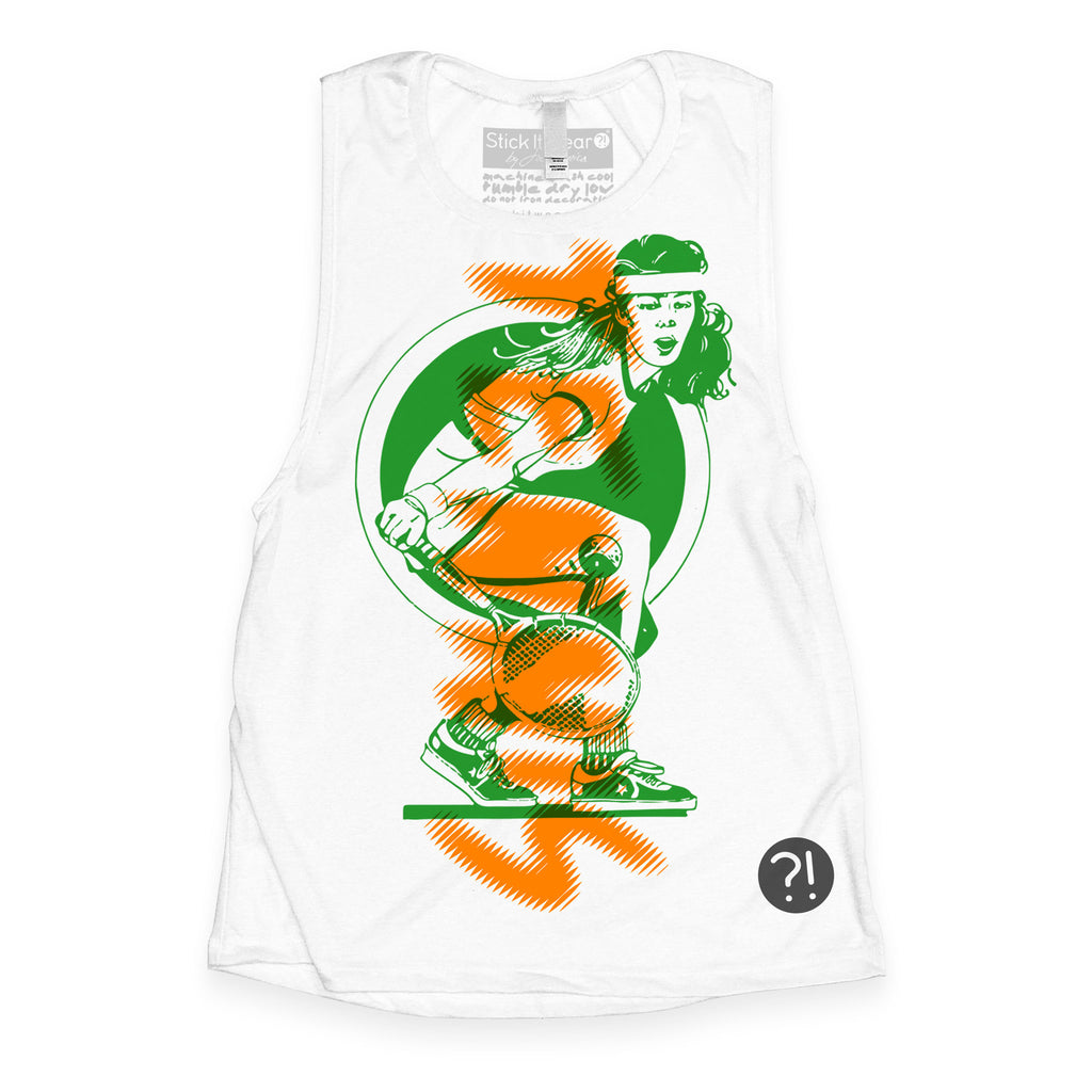 Front of Stick it Wear?! 'WORLD CHAMPIONSHIP' Womens Tennis Tank Top in white.