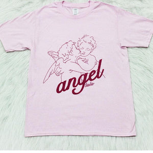 Hillbilly Angel Lover Cute Cotton Women Tee Shirt Graphic Oversize Short Sleeved Round Neck Kawaii Harajuku Ulzzang Pink T-Shirt