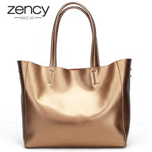Load image into Gallery viewer, Zency Luxury Gold Women Shoulder Bag 100% Genuine Leather Large Capacity Handbag Elegant Ladies Messenger Crossbody Fashion