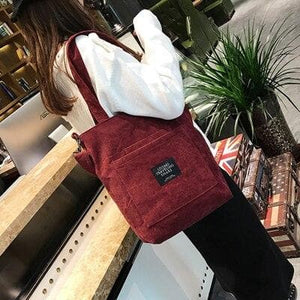 Women Corduroy Shopping Bags Reusable Tote Ladies Casual Shoulder Bag Foldable Beach Shopping Bag Cotton Cloth Female Handbag