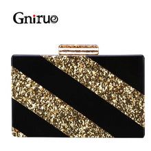 Load image into Gallery viewer, Classic Stripe Clutches Women Acrylic Clutch Fringe Crossbody Evening Bags Geometric Bag Cute Purses Handbags Luxury Shoulder Ba