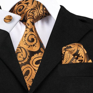 SN-1490 Hi-Tie New Classic Silk Ties Yellow Blue Striped Neck Tie Hanky Cufflinks Set for Mens Business Wedding Party