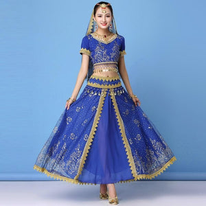 Dance Wear Women Performance Indian Sari Outfit Bollywood Belly Dance Costumes Set (Top+belt+skirt+veil+headpiece)