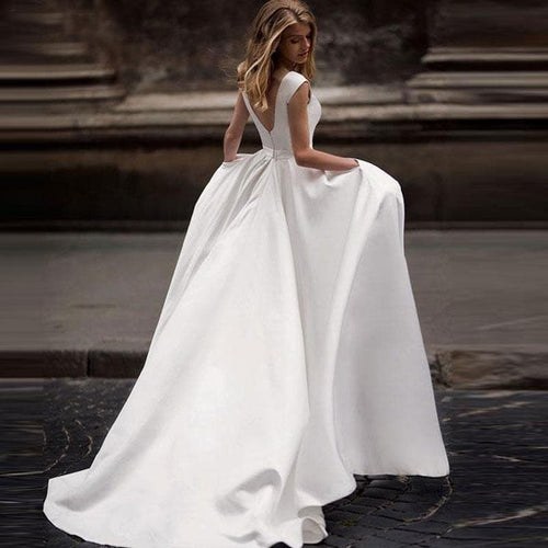 New Spring Wedding Dresses Satin Wedding Bridal Gown