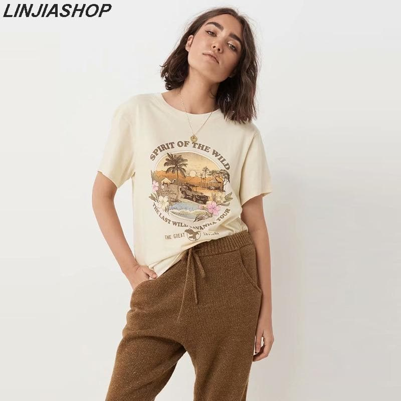 Vintage Beige Spirit of the wild Summer Tshirt O Neck Cotton Sunset Coco T-Shirt Girls Streetwear Designer Ins Bloggers Style