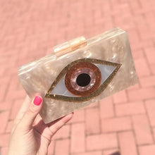 Load image into Gallery viewer, Pearl Champagne Nude Sand Color Acrylic Evil Eye Patchwork Women Brand Evening Small Mini Flap Shell PVC Box Clutches Purse Bags