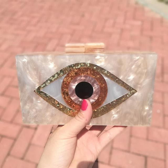 Pearl Champagne Nude Sand Color Acrylic Evil Eye Patchwork Women Brand Evening Small Mini Flap Shell PVC Box Clutches Purse Bags