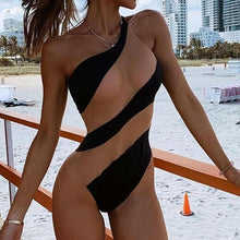 Load image into Gallery viewer, One Piece Push-up Padded Stripe Monokini
