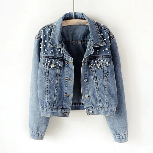 Bomber Denim Coat  Autumn Plus Size Pearl Beaded Short Denim Jackets Women S-5XL Long Sleeve Vintage Casual Jean Jacket Coat