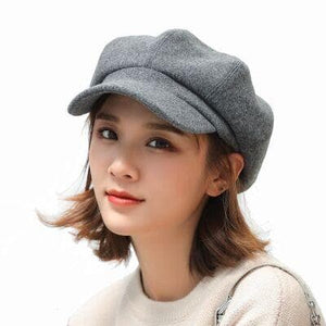 MAERSHEI wool Women Beret Autumn Winter Octagonal Cap Hats Stylish Artist Painter Newsboy Caps Black Grey Beret Hats