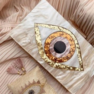 Ethnic Evil Eye Bag Purse Acrylic Box Clutches Travel Lady Party Women Bride Evening Handbgas Purse Wallet Brand Acrylic Bags