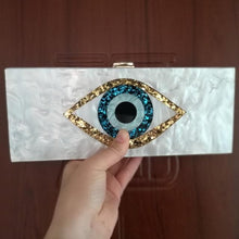 Load image into Gallery viewer, Ethnic Evil Eye Bag Purse Acrylic Box Clutches Travel Lady Party Women Bride Evening Handbgas Purse Wallet Brand Acrylic Bags