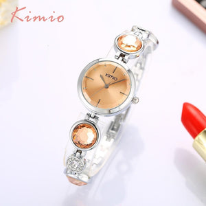KIMIO Fanshion Quality Crystal Diamond Bracelet Quartz Watches Woman Watches  Brand Luxury Ladies Wrist Watches For Women