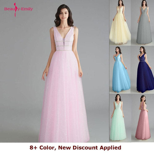 Beauty Emily Elegant Bridesmaid Dresses V Neck Sleeveless Sequins Appliques Party Dress Long Pink Prom Gowns For Wedding