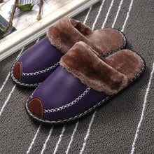 Load image into Gallery viewer, Winter Women Slippers Genuine Leather Home House Indoor Non-Slip Thermal Shoes Men  New Warm Furry Slippers Plus Size