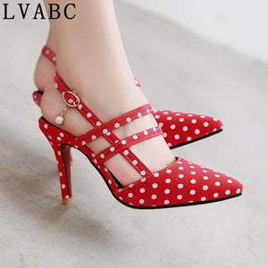 LVABC  new women's sandals simple buckle fashion shoes large size 31-47 sweet red party wedding shoes high heels women's sho
