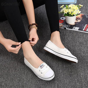 Vulcanize Shoes Women New Shallow Canvas Flat Footwear Womens Simple Summer Ladies Trendy Sneaker White Daily Korean Style Cute