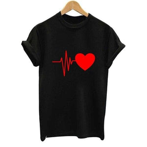Hillbilly  New Fashion harajuku Women's cute T-shirts My heart for you  Printed T Shirts Short Sleeve O-neck