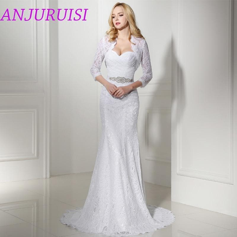 Elegant Hot Sale Bridal Wedding Gown Real Photo White Lace Mermaid Wedding Dress With Wedding Jacket Cheap vestido de noiva