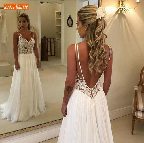 Elegant Boho V Neck Bride Dresses Long New Chiffon Backless Wedding Gowns Sleeveless Appliques Top Lace Beach Wedding Dress
