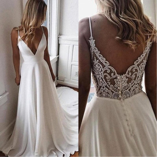 Summer A Line Simple White Bride Wedding Dress V Neck Bridal Party Dress Long Chiffon Boho Beach Wedding Gowns