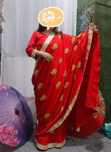 Load image into Gallery viewer, indian sari sarees party wear wedding sarees for women in india Golden applique Red georgette saree indian dresses sari