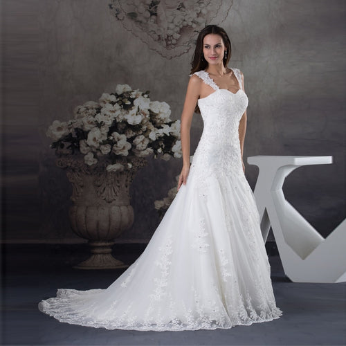 New Elegant Appliques Beaded Bride Wedding Gown