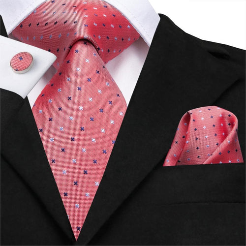 C-3118 Hi-Tie Fashion Silk Men Tie Coral Pink Dot Necktie Handkerchief Cufflinks Set Fashion Men's Party Wedding Tie Set 8.5cm
