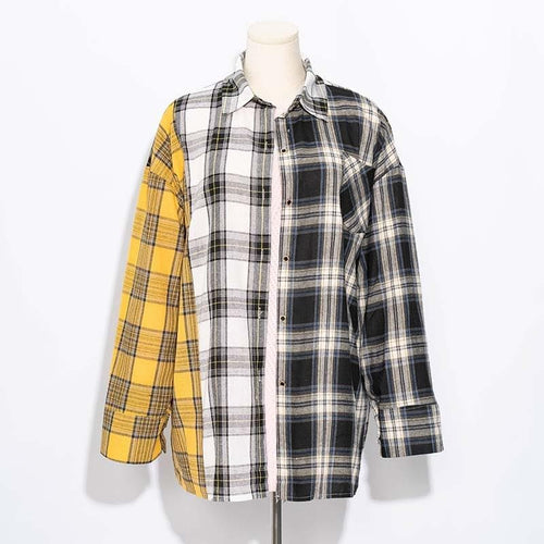 ALLKPOPER KPOP  Plaid Shirt Women Bangtan Boys SUGA Blouse Korea Fashion Plus Size Casual Spring Autumn Splice Shirts