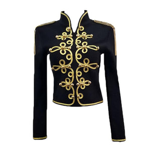 New Fashion Bodycon Women Jacket Long Sleeve Stand Casual Button Zipper Black Sexy Night Club Celebrity Party Coat