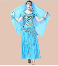 Load image into Gallery viewer, Belly Dance Costume For Women Indian Bollywood Dance Set Sari Bellydance Suit Chiffon 4pcs (Headpieces Veil Top Belt Skirt)