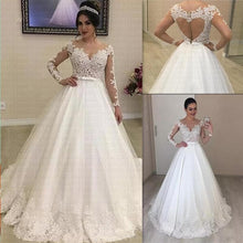 Load image into Gallery viewer, Appliques Long Sleeves Vestido De Noiva Amazing Open Back Lace Wedding Dress Bow Wedding Gown Bridal Dress
