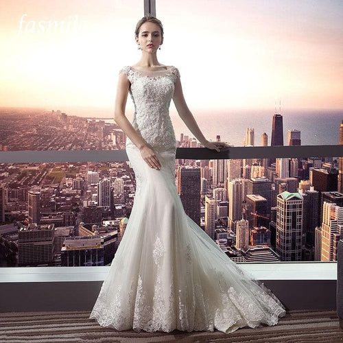 Fansmile New Arrival Vestido De Noiva Lace Mermaid Wedding Dress Customized Plus Size Wedding Gowns Bridal Dress FSM-484M