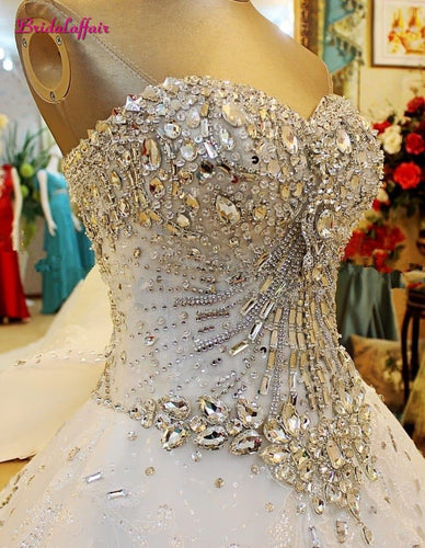 Premium Collections - Luxury Pearls Wedding Dress a line Shiny Wedding Gown Sweetheart Corset Wedding Dresses