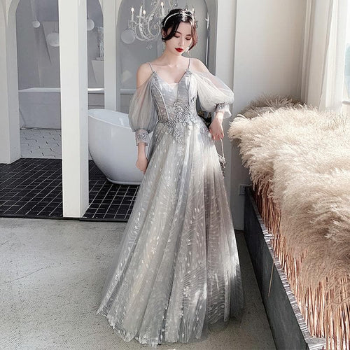 Bridesmaid Dresses Fog Appliques Sequin Wedding Guest Dress Sexy V-Neck Sleeveless Vestidos Floor Length Elegant Gowns R070