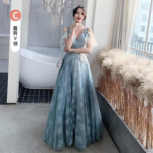 Bridesmaid Dresses Fog Blue A Appliques Sequin Wedding Guest Dress Sexy V-Neck Sleeveless Vestidos Floor Length Elegant Gowns R070