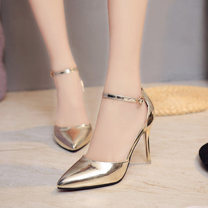 Women High heels Dress Shoes Silver Woman Wedding Shoes Pointed Toe Ankle Buckle Sexy Pumps Gold Shoes