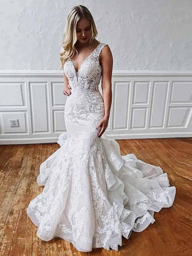 Premium Collections - Ruffles Layered Skirt Lace Mermaid Wedding Dress