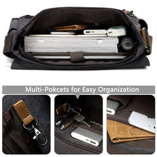 Load image into Gallery viewer, Unisex Water Resistant Waxed Canvas 15.6 inch Laptop Briefcase Padded Shoulder Bag