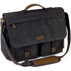 Unisex Water Resistant Waxed Canvas 15.6 inch Laptop Briefcase Padded Shoulder Bag