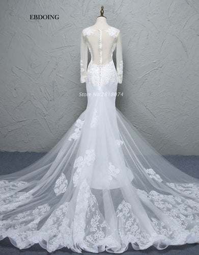 Premium Collection - Wedding Dress Sheath O-neck Neckline Wedding Gowns With Lace Appliques Beaded